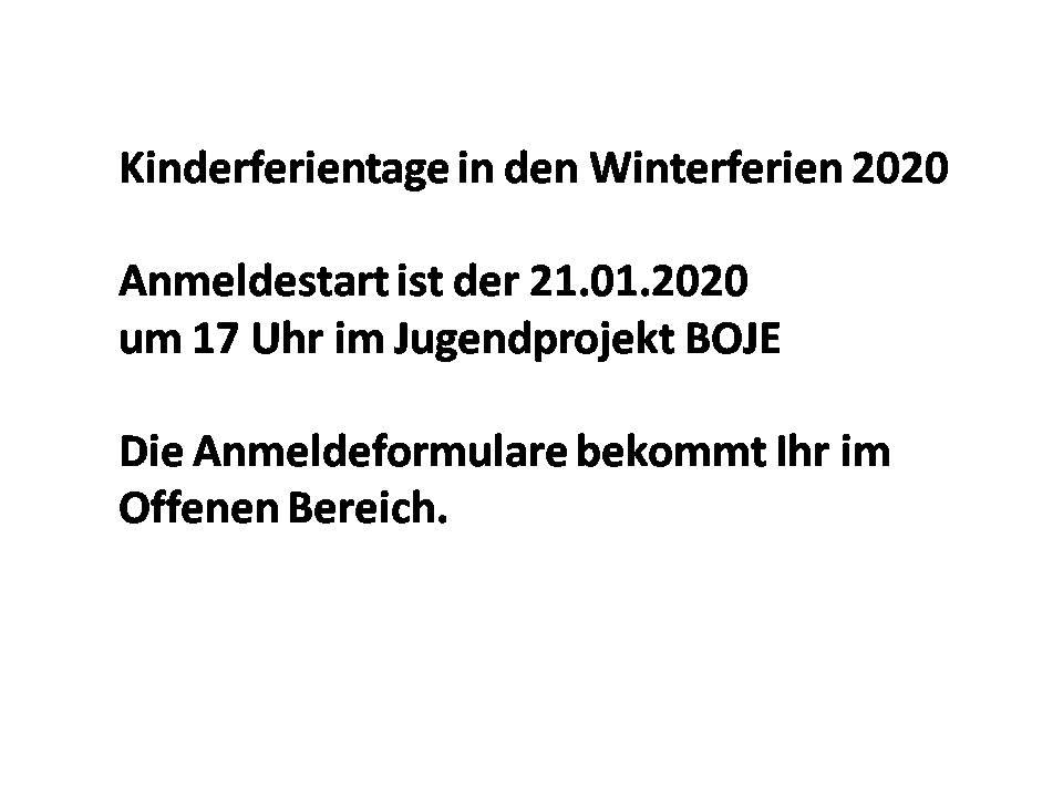Anmeldung für die Kinderferientage Winterferien 2020